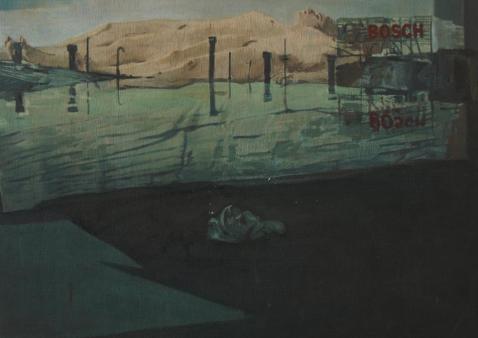 The obsolete man of Schopenhauer, oil on wood, 50x75cm