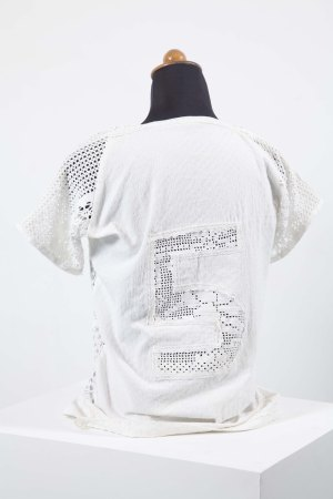 Centre-back No5, lace installation shirt, 2014, Dionisis Christofilogiannis
